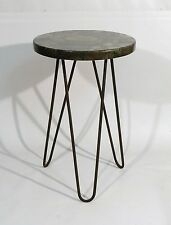MARBLE TOP IRON HAIRPIN SIDE TABLE FRENCH 1950s  ROYERE attbn.
