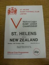 12/10/1980 Rugby League Programme: St Helens v New Zealand. Any faults with this