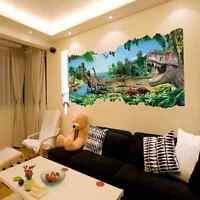JUNGLE ADVENTURE SMASHED WALL STICKER 3D BEDROOM BOYS GIRLS VINYL ART DECAL 121