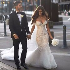 Luxury Vintage Lace Wedding Dresses Mermaid Pearls Appliques Bridal Gowns Custom