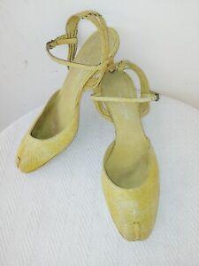 DRIES VAN NOTEN Made in Italy,Olive Leather,Kitten Heel Women's Shoes,EU38,5/US8