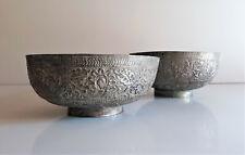 Inde - lot de 2 coupes en bronze argenté - XIX ème siècle