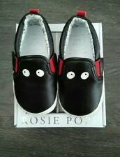 BNIB!! Rosie Pope 9-12 Months 9-12 Mo Sz 4 Black Bat Loafers/Slip-on Crib Shoes