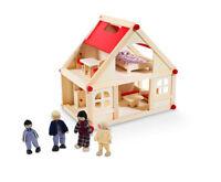 Glow2B Puppenhaus mit 4 Puppen und Einrichtung Möbel Dollhouse Kit Puppenstube
