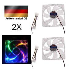 Transparenter Hartplastik PC Lüfter mit LED 120mm Gehäuselüfter Fan 2 Stk.
