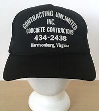 Vintage Construction Concrete Contractor Black Hipster Mesh Trucker Cap Hat
