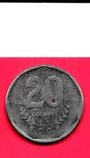 COSTA RICA KM216.2 1985 VF-VERY NICE LARGE CIRCULKATED USED 20 COLONES OLD COIN
