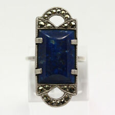 Large Vintage Sterling Silver Marcasite & Large Blue Stone Ring - Size 4.5