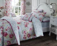Duvet Cover Set/ Bedspread/ Cushions Bouquet Grey Vintage Rose Cotton Rich