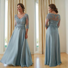 3/4 Sleeves Mother Of The Bride Dresses Blue Evening Party Wedding Guest Gown