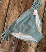 NWT Victoria's Secret PINK Strappy Sides Green/Gray Bikini Bottom Large L