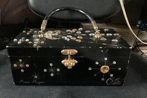 Vintage Enid Collins Mille Fleurs Jeweled Wood Box Bag Purse Black Rhinestones