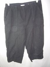 WOMENS ELASTIC WAIST BLACK ERIKA COTTON CAPRI CAPRIS YOGA PANTS SIZE M 28-40X19