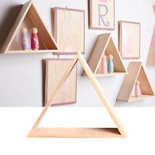 DIY Shelf Natural Wood Storage Rack Wall Mounted Handmade Bedroom Triangle Shape