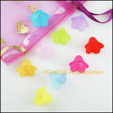 50Pcs Mixed Acrylic Plastic Horn Flower Spacer Beads End Caps Charms 10x14mm