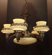 Antique Large Brass Hanging Lamp Chandelier with 6 Glass Shades