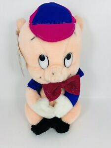 Vintage 1987 Porky Pig Plush Stuffed Animal Warner Bros. by Mighty Star 9.5""