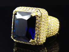 Mens Yellow Finish Blue Sapphire Lab Diamond Sterling Silver Royal Ring