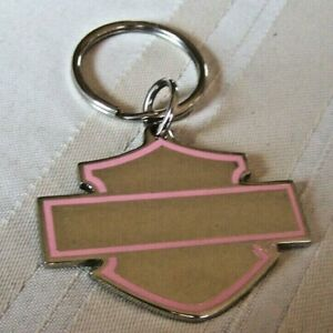 Harley-Davidson Metal Medallion Chrome Bar & Shield Key Chain W/ Pink Border