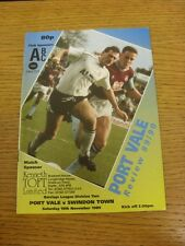 18/11/1989 Port Vale v Swindon Town  . Thanks for viewing this item, buy in conf