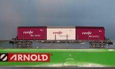 Arnold HN6080, - Spur N -, Renfe Tragwagen mit Containern Renfe Mercancías