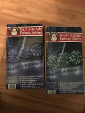 Lot Of TWO Mr Christmas SET OF 3 STARLIGHT PATHWAY SPHERES super bright LED
