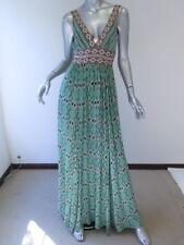 BCBG Max Azria Plunging V Maxi Dress Sequin Accented Green Navajo Print Size 4