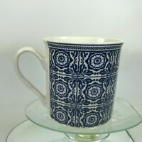 Pier 1 Eco One Coffee Mug Elegant Floral Blue & White Design 11 Oz Rare Cup C39
