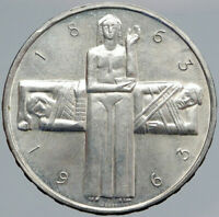 1963 B Switzerland RED CROSS Nurse & Patient 5 Francs Silver Swiss Coin i87690