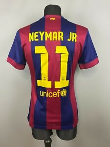 BARCELONA 2014 2015 NEYMAR JR HOME SHIRT MATCH ISSUE FOOTBALL SOCCER NIKE SIZE M