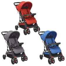 vidaXL Sillita de Paseo de Bebé Acero Cochecito Carrito Niños Azul/Rojo/Gris