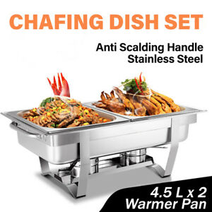 9L 4.5x2 Bain Marie Bow Chafing Dish Stainless Steel Food Buffet Warmer Pan