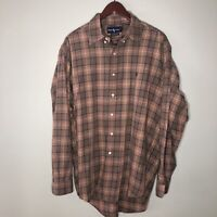 Ralph Lauren Long Sleeve Mens Button Down Shirt Large Brown Plaid Classic Fit