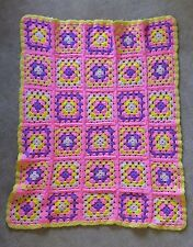 "Afghan Knit Crochet Granny Square Flowers Yellow Pink Purple Throw 36"" x 44"""