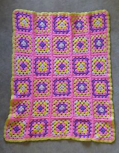 """Afghan Knit Crochet Granny Square Flowers Yellow Pink Purple Throw 36"""" x 44"""""""
