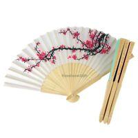Personalized Engraved Silk Folding Hand Fan Plum Flower Fans Wedding Favors
