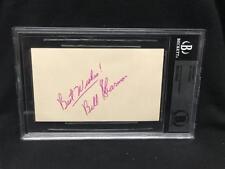 BILL SHARMAN NBA VINTAGE SIGNED 3X5 INDEX CARD BAS BECKETT SLABBED (6034)