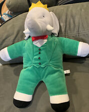 """Eden Babar The Elephant 18"""" Plush Stuffed Toy Retired Green Suit Crown PBS Kids"""