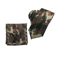 New Men's Micro Fiber Neck Tie & Hankie Set camoflage print gray black