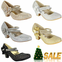 NEW GIRLS DIAMANTE KIDS PARTY WEDDING EVENING MARY JANE LOW HEELS SHOES SANDALS