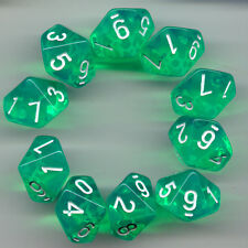 NEW RPG Dice Set of 10D10 - Translucent Lite Green