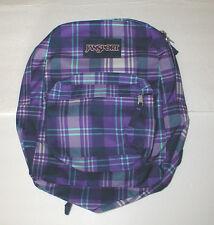 JanSport Superbreak Purple Night Preston Plaid Backpack T501 MSRP $48 NWT
