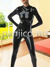 100%Latex Rubber Full-body Black Catsuit Zipper Bodysuit Suit Size XS-XXL