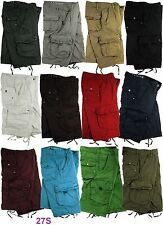 MENS MILITARY-STYLE 100% COTTON SOLID COLOR CARGO SHORTS SIZE: 30 - 54 S/#27S