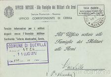 * CERVIA - DUEVILLE - Ufficio Notizie, Ospedale Militare, Alpino Ferito 1941