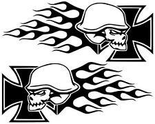 Iron Skull Iron Cross Aufkleber mit Flammen Bike Motorrad Auto Car Trike Quad !