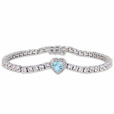Amour Sterling Silver Sky-Blue Topaz and Created White Sapphire Bracelet