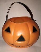 "Vintage Mini Halloween Jack-o-lantern Blow Mold Trick or Treat Pumpkin 4.5"" Tall"