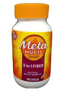 Metamucil 3-in-1 Fiber Supp. Multiple Health Benefits 160 Caps. Exp 2022+ #5115