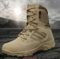 Mens Army Combat Tactical Leather Boot Military Work Climbing Desert SWAT Shoes